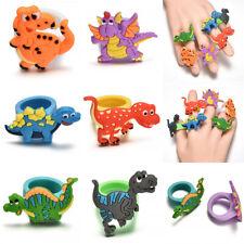 2Pcs Cute Dinosaur Finger Ring PVC Soft Cartoon Dinosaur Rings Kids Toys Gift FS