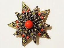 Vintage Heraldic Star Signed ART Pin Brooch Flowers Faux Pearl Enamel Filigree