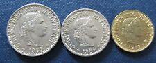 Set Münzen 1989 5, 10 und 20 Rappen Schweizer Franken aus Umlauf für Sammler