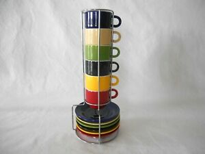 GIBSON HOME PRIMARY COLOR ESPRESSO DEMITASSE CUPS & SAUCERS in WIRE RACK