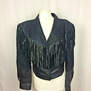 Fringed Black Leather Jacket Womans Size M Vintage Motorcycle Western