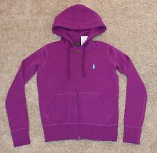 $98 New RALPH LAUREN Big Pony Ladies XS Small Hoodie Sweatshirt Purple Hyacin