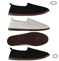 SLAZENGER Mens Kung Fu Canvas Slip on Pumps Shoes Espadrilles Plimsolls Sz 7-11