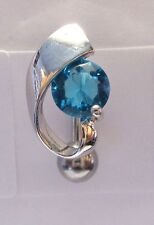 Surgical Steel VCH Hood Cover Shield Curved Barbell Aqua Crystal 14 gauge 14g