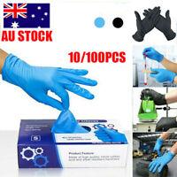 10/100Pc Blue/Black Nitrile Exam Glove Disposable Powder Free Latex Free