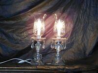 antique art deco crystal hurrican table nightstand mantle boudoir lamps lights