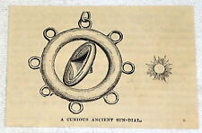 1882 small magazine engraving ~ A Curious Ancient Sun-Dial