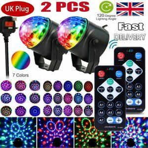 2PCS LED Magic Ball Stage Lighting RGB Rotating Disco Party DJ Decor+Remote Xmas