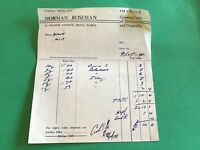Norman Roseman Hove Greeting Cards 1954  receipt R38084
