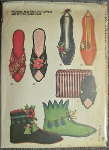 Vtg UNCUT McCall's Ladies & Girls Slippers & Case Pattern 6559 Sz 4 1/2 to 8 1/2