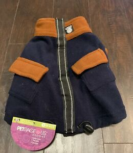 NEW PETRAGEOUS DESIGNS S Small Navy Blue Brown Fleece Winter Coat NWT