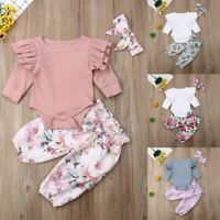 Toddler Baby Girl Ruffle Sleeve Romper Tops+Floral Pants+Headband Clothes Outfit