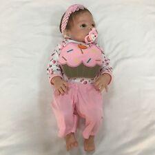 """Hot 23"""" Girl Doll Handmade Full Body Silicone Reborn Baby Soft Newborn Bath Toys"""