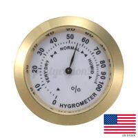 1.46'' Analog Hygrometer Cigar Humidor Tobacco Humidity Thermometer Gauge Glass
