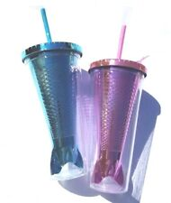 Mermaid Tumbler Cup With Straw Pink/Blue Lot of 2 Brand New