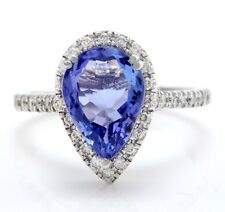 4.05 Carat Natural Blue Tanzanite and Diamonds in 14K Solid White Gold Ring
