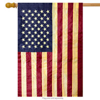 """Tea Stained Embroidered American Flag House Flag Stars & Stripes USA 28"""" x 50"""""""