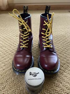 Womens Doc Martens Size 7 1460 Smooth Leather Lace Up Cherry Red Yellow Laces