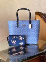NWT Coach Signature large denim town tote/ zip floral wallet option