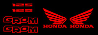 Honda GROM Decal Kit RED Sticker Motorcycle 125 graphics decals stickers