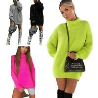 Womens Ladies Fluorescent Chunky Knitted High Neck Oversized Jumper Dress Tops