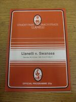 09/10/1982 Rugby Union Programme: Llanelli v Swansea (creased). Footy Progs/Bobf