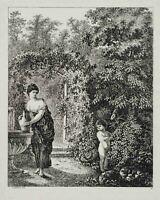 GESSNER, Amor mit junger Frau am Brunnen im Garten, 1771, Radierung