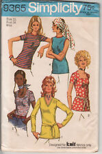 9365 SIMPLICITY c.1971 - TOPS for Knits w Neck Variations - Sz 12 B 34""