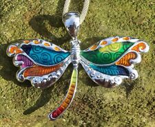 Large Silver Plate And Enamel Dragonfly Pendant Necklace - Insects