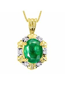"""Emerald & Diamond Pendant Necklace Set in Yellow Gold Plated Silver With 18"""" Ch"""