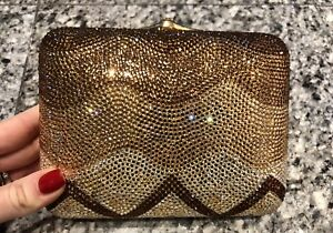 Judith Leiber Zig Zag Crystal Clutch Minaudiere Bag