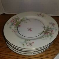 THEODORE HAVILAND NEW YORK APPLE BLOSSOM CHINA BREAD BUTTER PLATES LOT OF 6