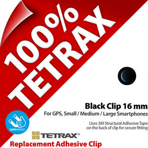 1 x Tetrax Replacement Adhesive Clip 16 mm Black (For use with Holder)