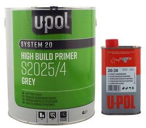 U-Pol 2K 1.25L High Build Paint Primer GREY S2025 S2030 Fast Hardener Upol