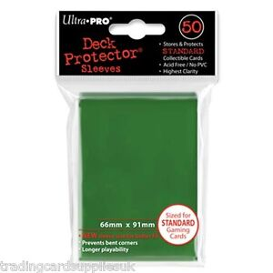 50 Ultra Pro Trading Card Sleeves - Standard Green Deck Protectors.