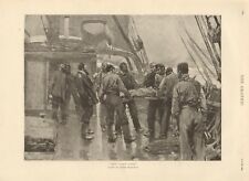 """1894  ANTIQUE PRINT - ART -""""THE LAST TOSS"""" BY FRANK BRANGWYN, BURIAL AT SEA"""