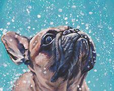 "FRENCH BULLDOG frenchie dog art canvas PRINT of LAShepard painting LSHEP 8x10"""