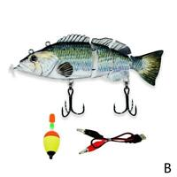 Electric Live bait LED Swimming Robotic Segment Fishing Swimbait Lures R7T4
