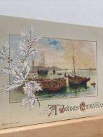 Vintage Postcard, 1914 Christmas Embossed Joyous Christmas Greetings P81