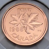1988 Canada 1 One Cent Penny Canadian Brilliant Uncirculated BU Coin G383
