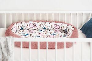 Soft Newborn Baby Cocoon Sleep Nest Cushion Breathable Snuggle Pod Pink Birds