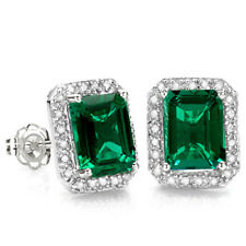 3.45 CT RUSSIAN EMERALD & 1/4 CT DIAMOND 14KT SOLID WHITE GOLD EARRINGS STUD
