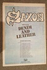Saxon Denim & Leather tour  1981 press advert Full page 28 x 39 cm mini poster