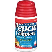 Pepcid Complete Acid Reducer Antacid Tropical Fruit 50 Chewable Tabs Each