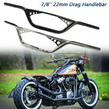 """7/8"""" Black 22MM Drag Bar Handlebar For Honda Bobber Bike Motorcycle ATV Custom"""
