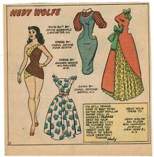 Hedy Wolfe Uncut Paper Doll From Newspaper - 1958