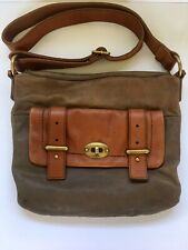 Fossil Women's Brown Taupe Leather Buckle Maddox Crossbody Satchel Purse Bag