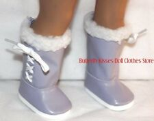 Lavender Fur Trim Snow Boots 18 in Doll Clothes Fits American Girl