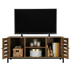 Rustic TV Stand Entertainment Center Farmhouse Console Storage Two Cabinet Doors