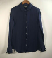 Michael Stars Women's Size M Front Button Shirt Blue Bell Sleeve